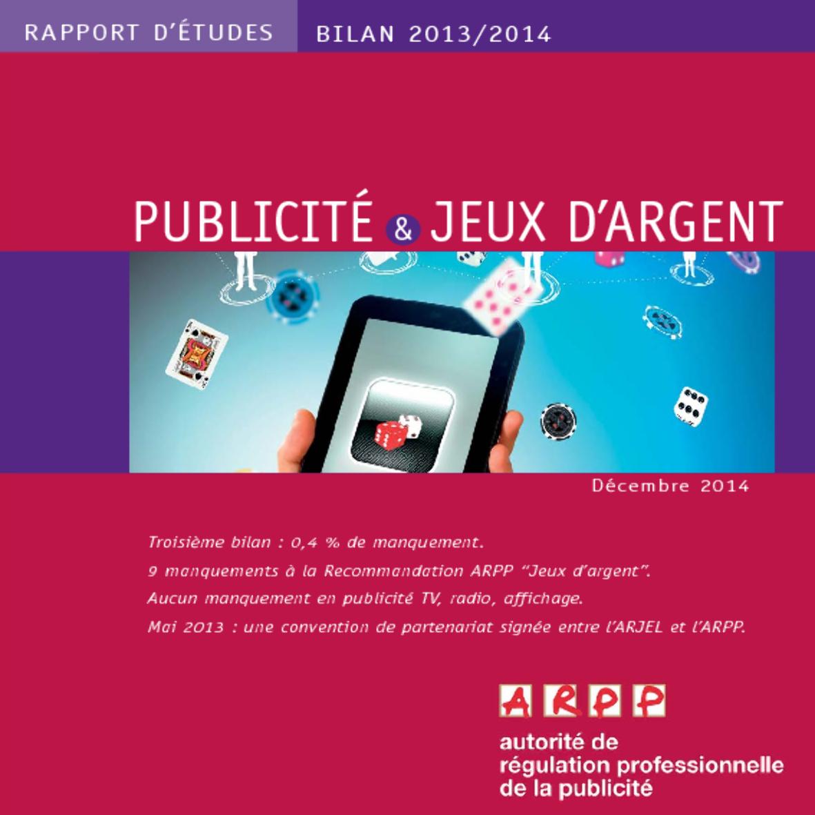 Bilan Publicité et Jeux d'Argent 2013-2014