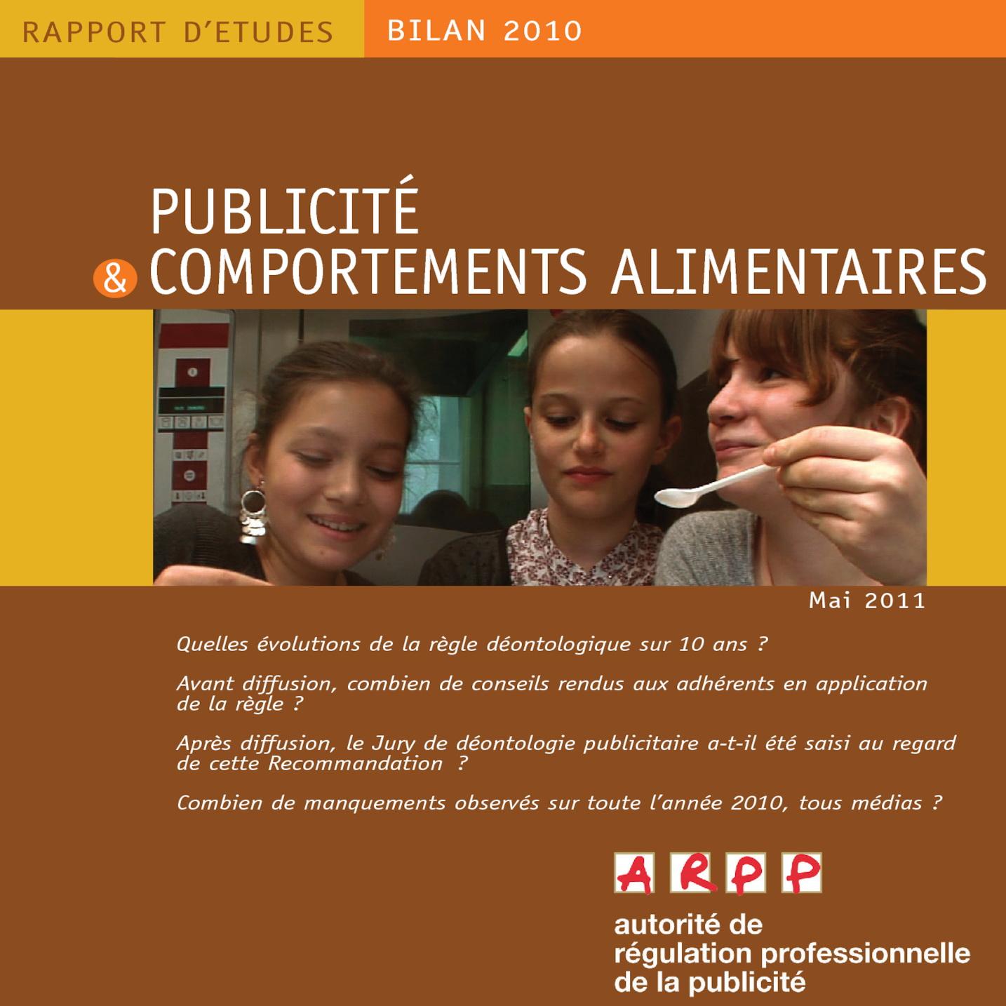 Bilan Publicité et Comportements Alimentaires 2010