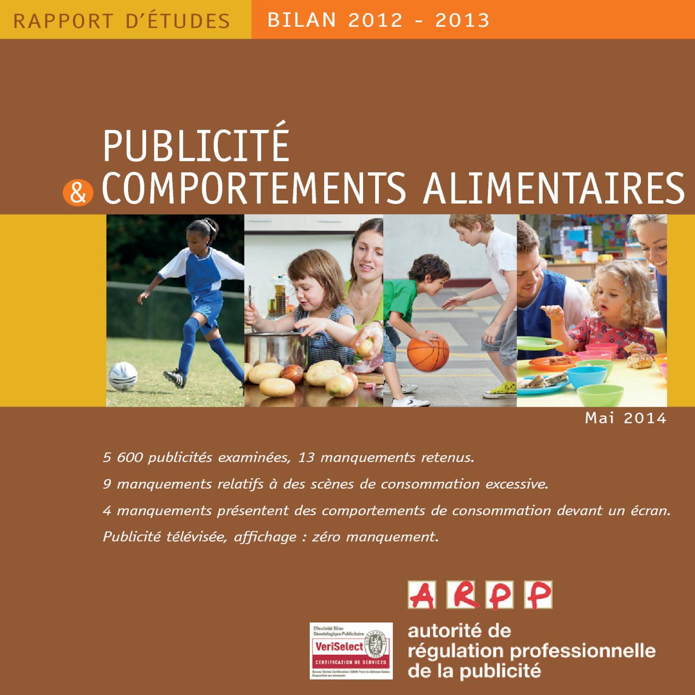 Bilan Publicité et Comportements Alimentaires 2012-2013