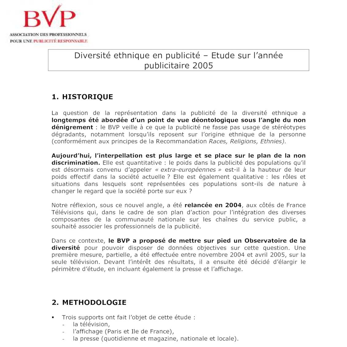 Bilan Publicité et Diversité 2005