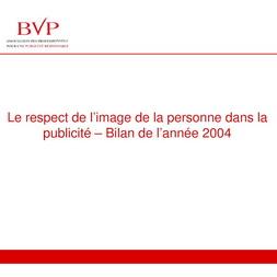 Bilan Publicité et Image de la Personne Humaine 2004