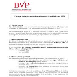 Bilan Publicité et Image de la Personne Humaine 2006