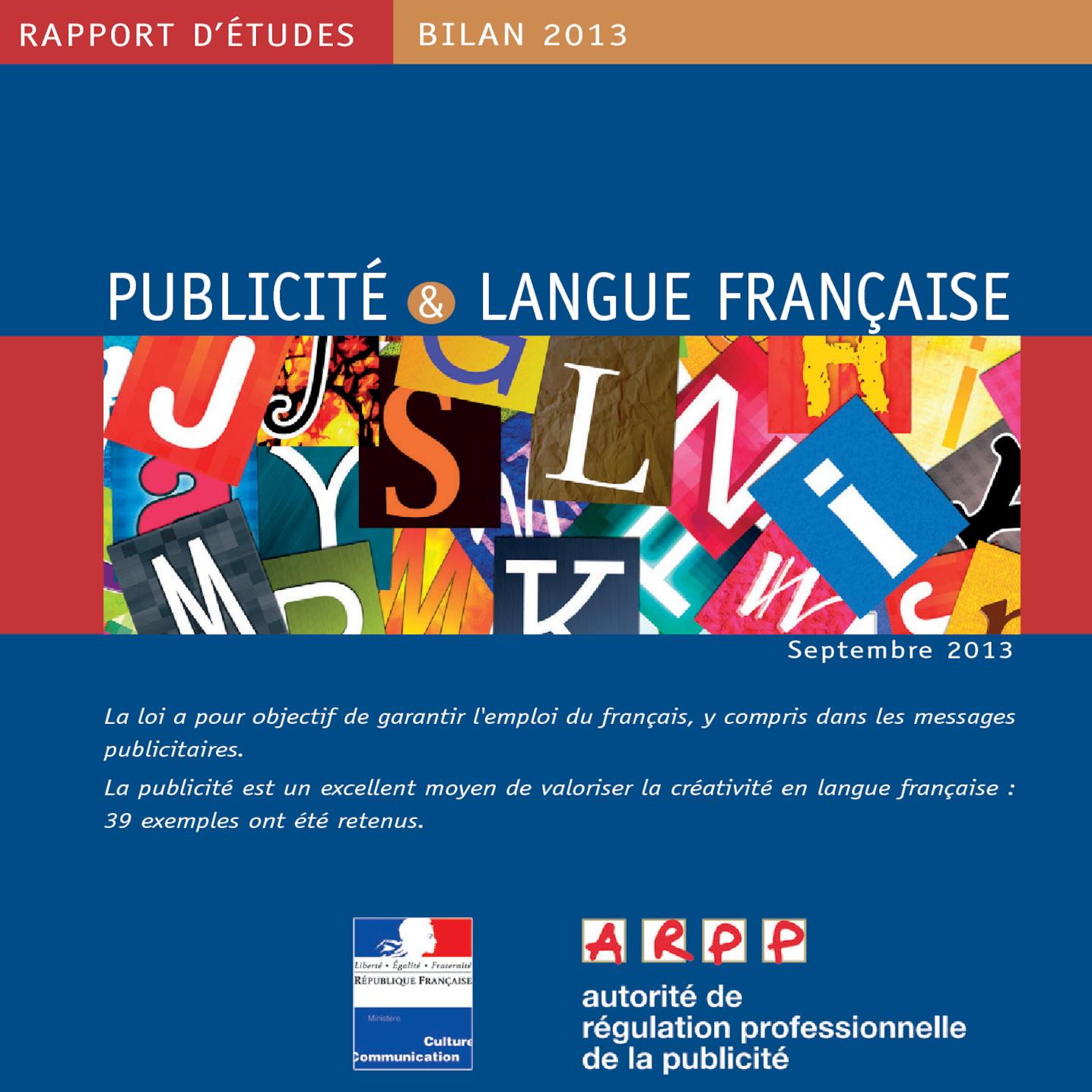 Bilan Publicité et Langue Française 2013