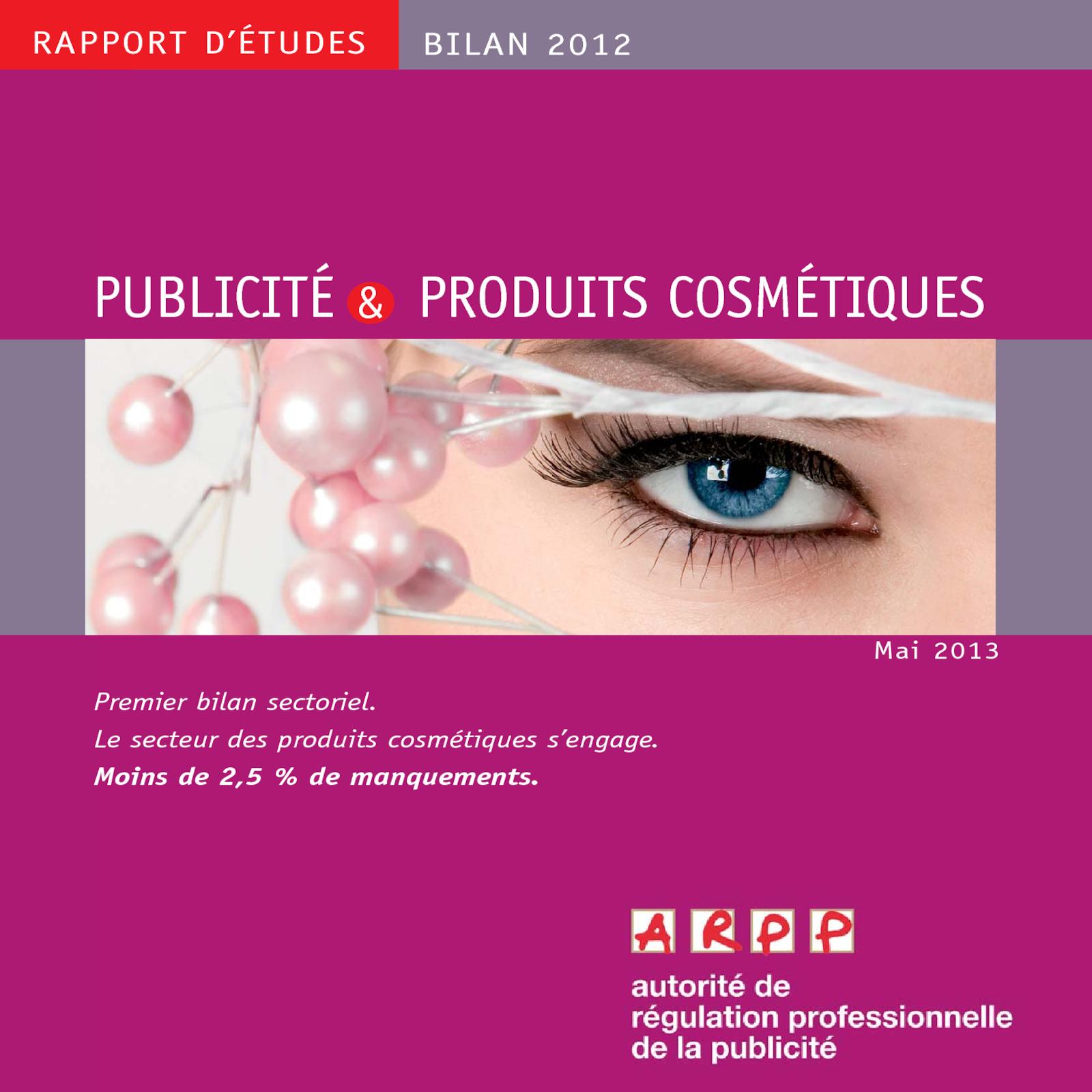 Bilan Publicité et Produits Cosmétiques 2012