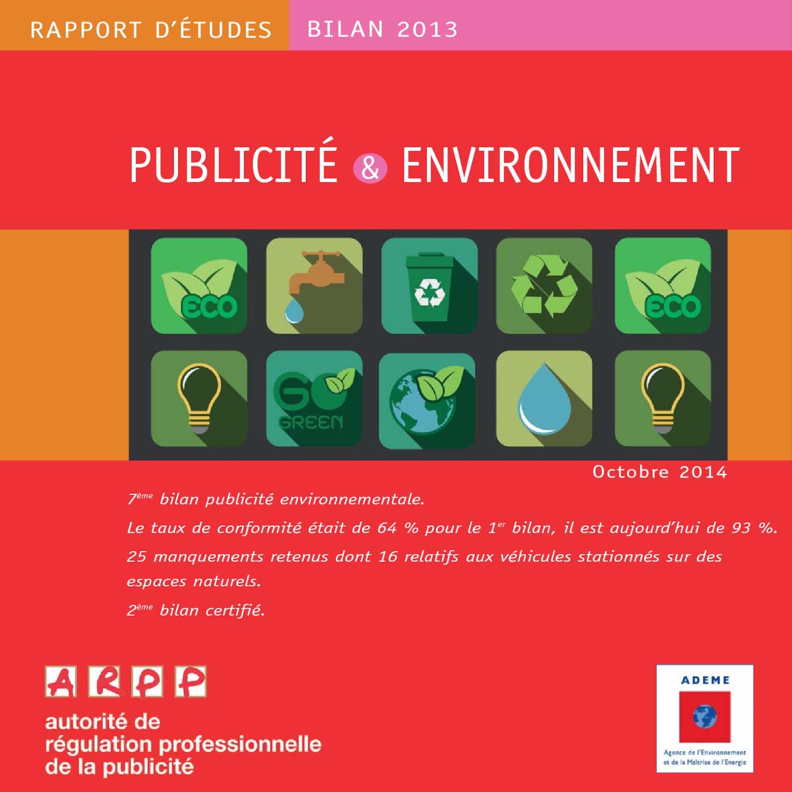 Bilan Publicité et Environnement 2013