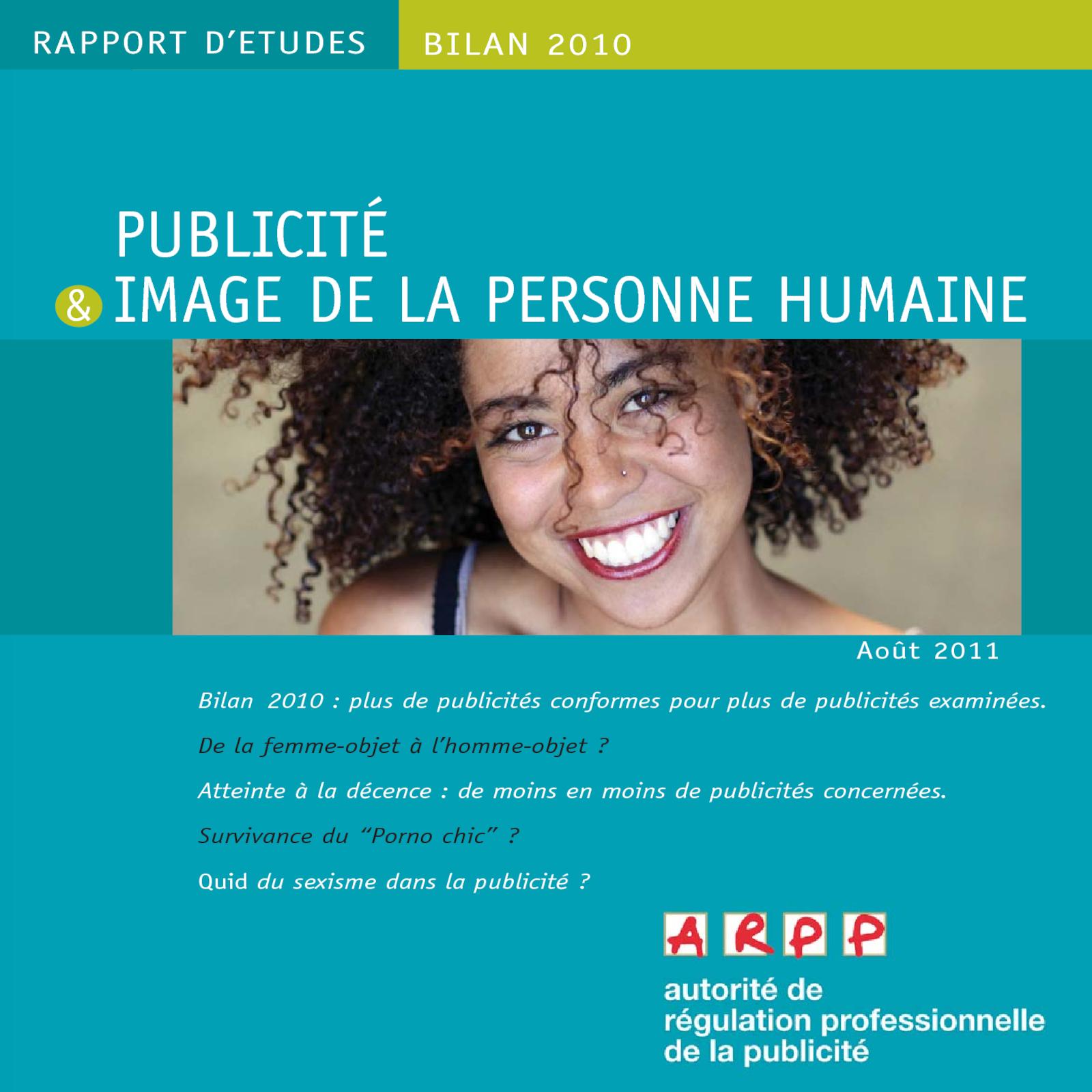 Bilan Publicité et image de la personne humaine 2010