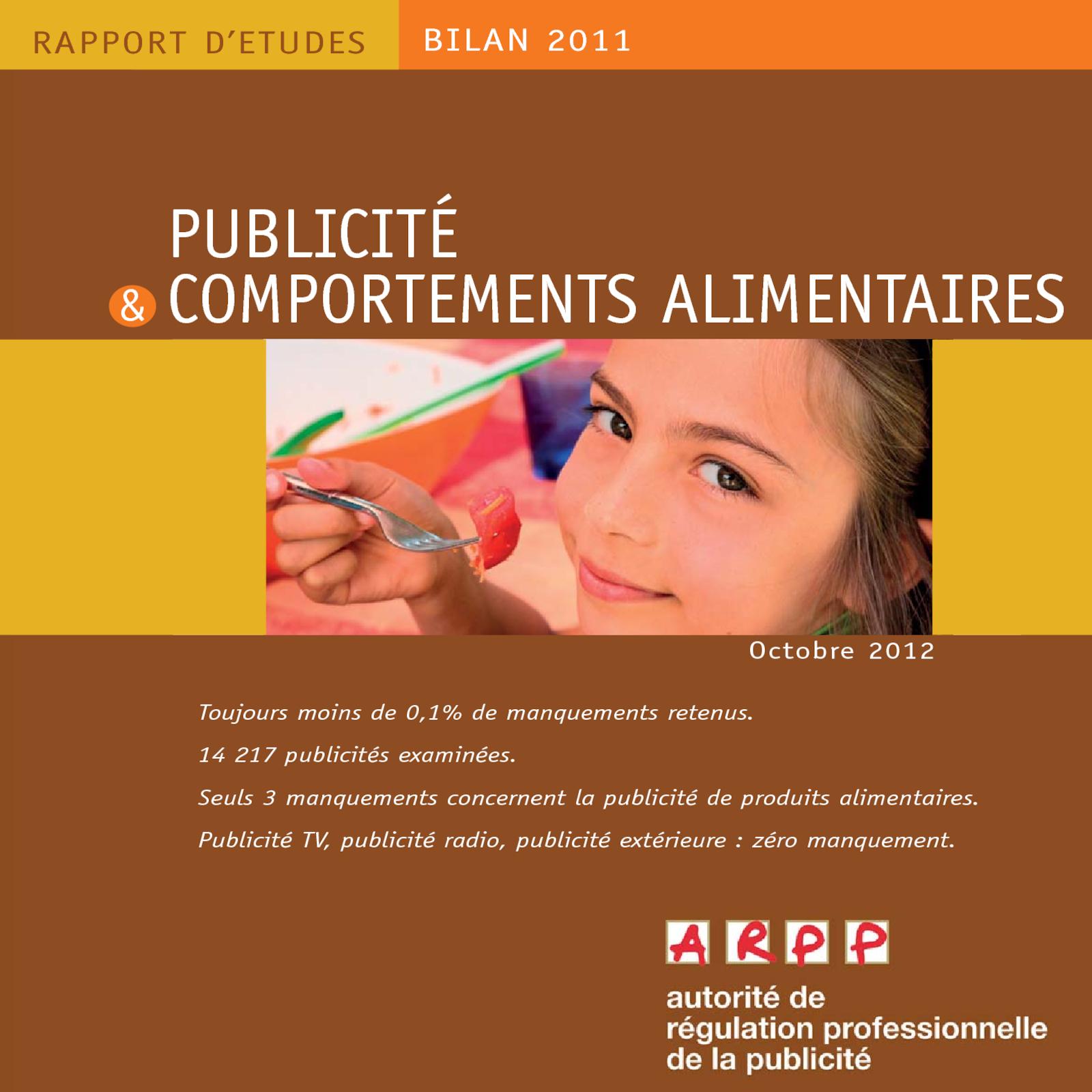 Bilan Publicité et Comportements Alimentaires 2011