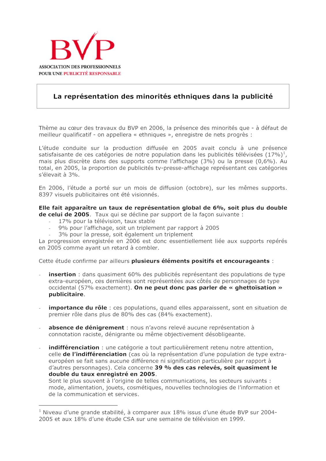 Bilan Publicité et Diversité 2007