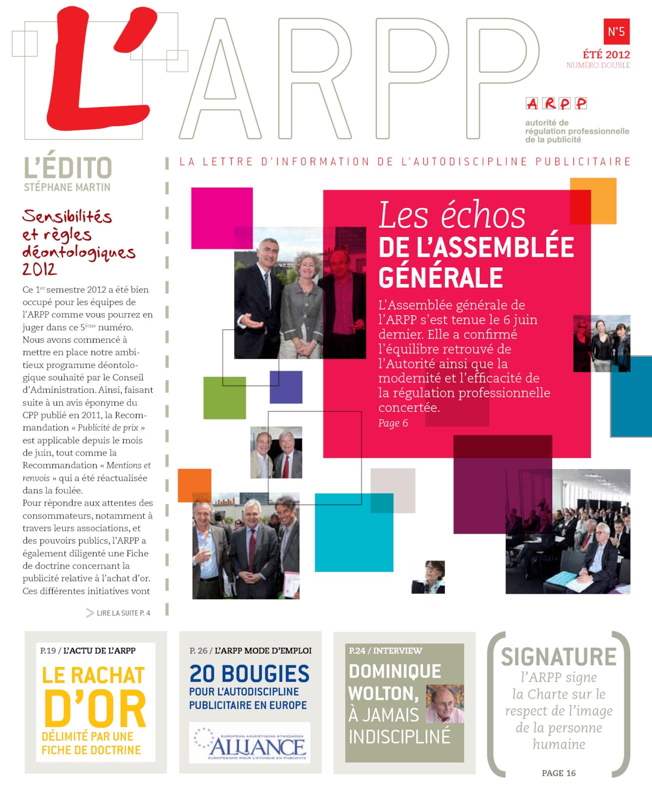 Lettre n°5 – Eté 2012