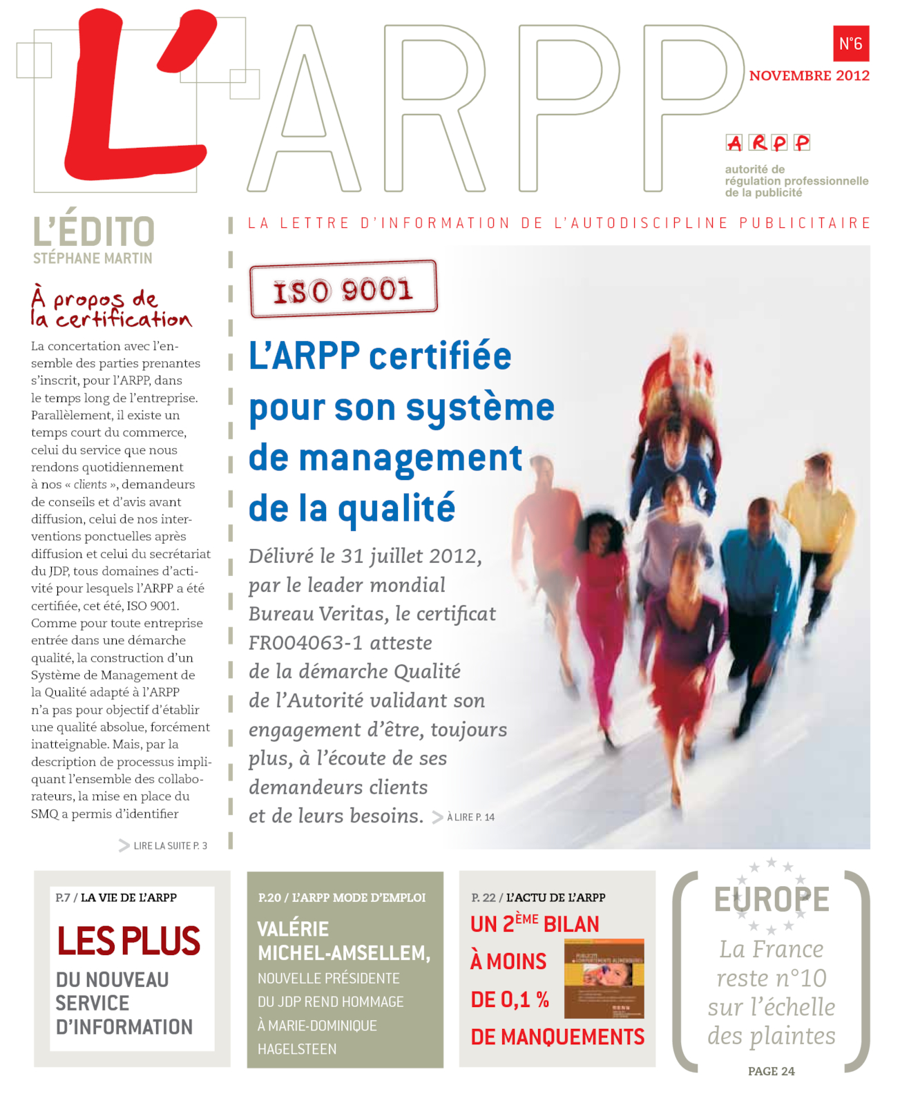 Lettre n°6 – Novembre 2012