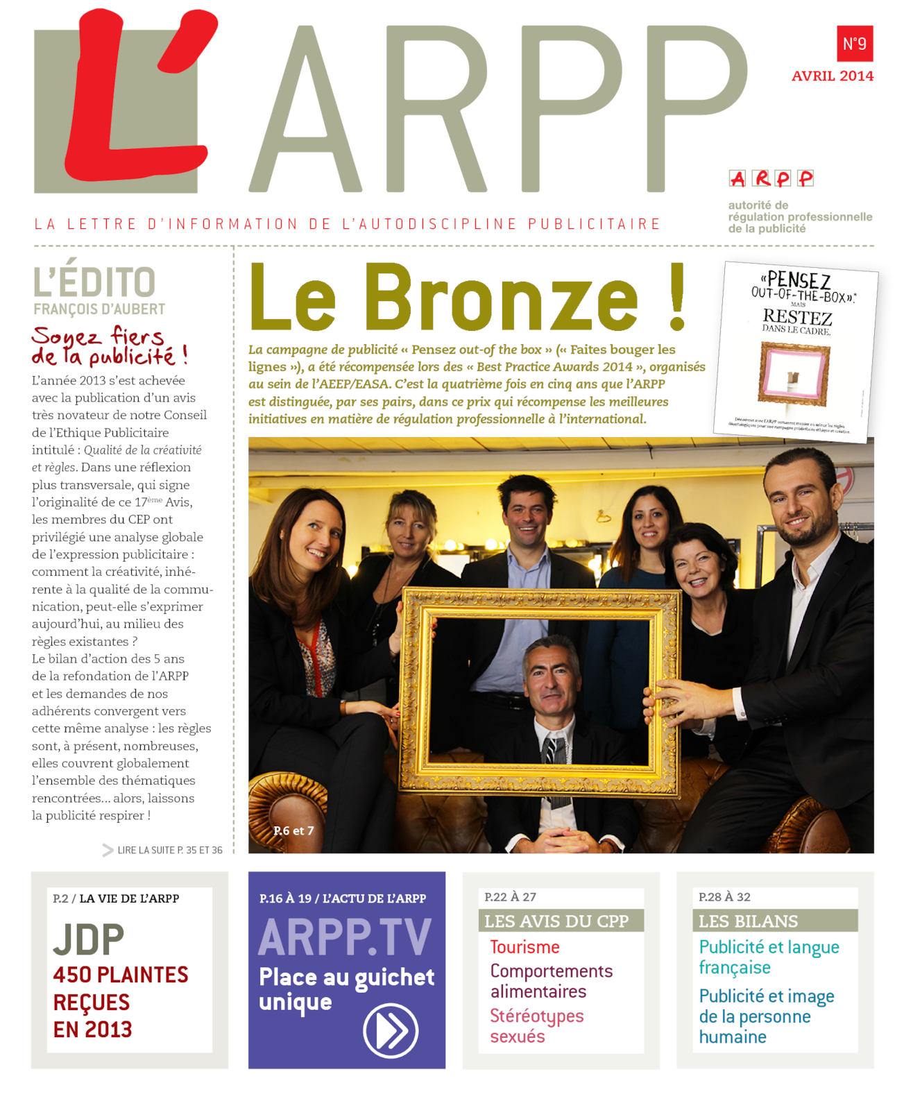 Lettre n°9 – Avril 2014