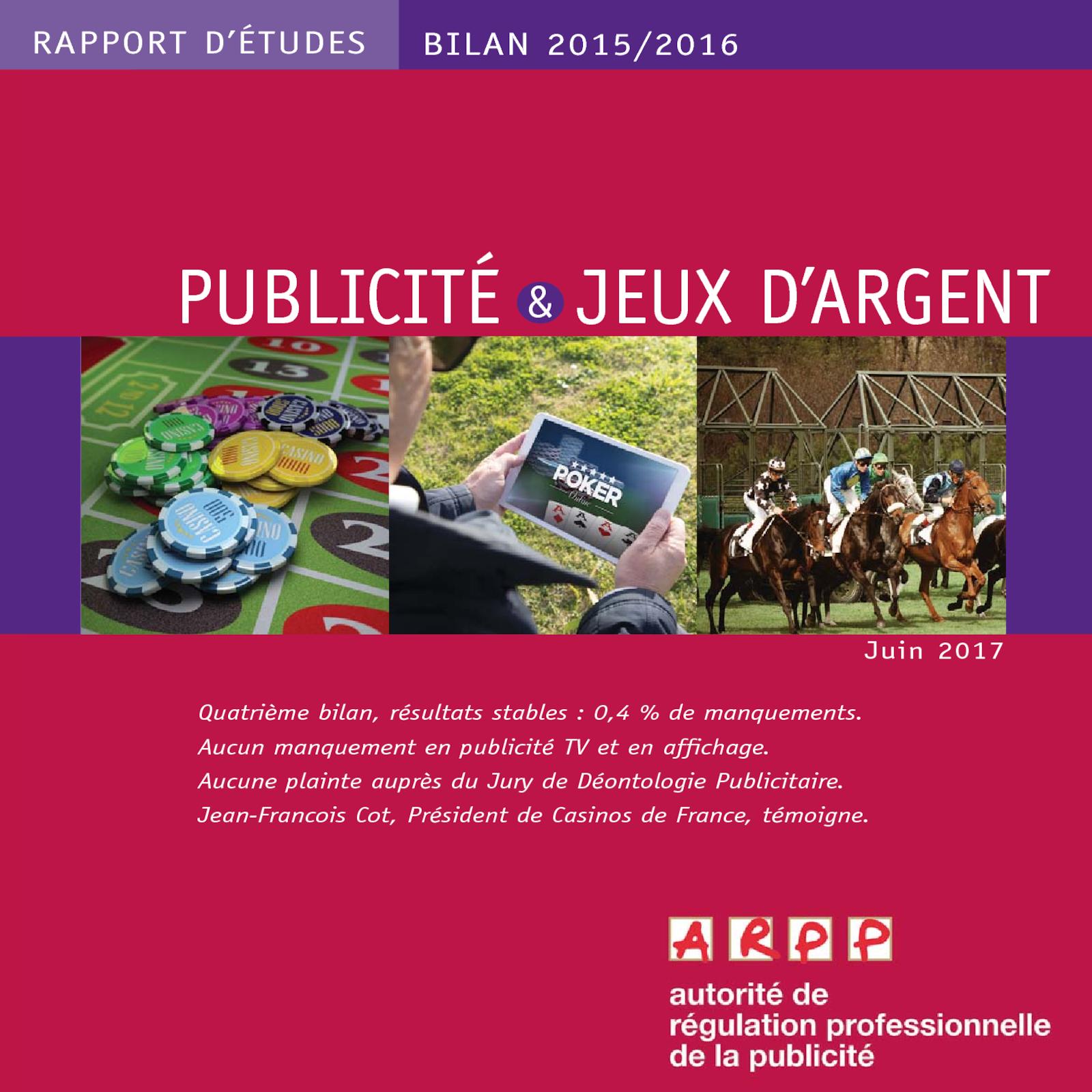 Bilan publicité et Jeux d'argent 2015-2016